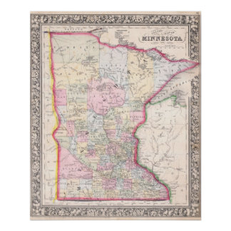 Vintage Map of Minnesota (1864) Poster
