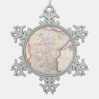 Vintage Map of Minnesota (1864) Snowflake Pewter Christmas Ornament