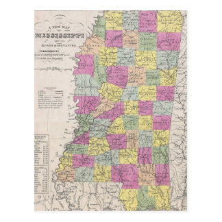 Vintage Map of Mississippi (1853) Postcard
