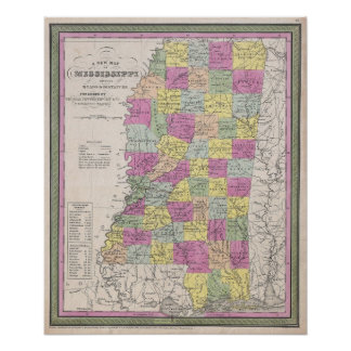 Vintage Map of Mississippi (1853) Poster