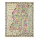 Vintage Map of Mississippi (1856) Poster