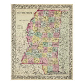 Vintage Map of Mississippi (1856) Poster