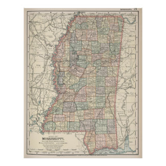 Vintage Map of Mississippi (1891) Poster