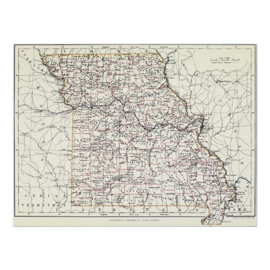 Vintage Map of Missouri (1883) Poster