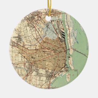 Vintage Map of Mobile Alabama (1940) 2 Christmas Ornament