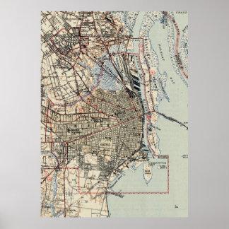 Vintage Map of Mobile Alabama (1940) Poster