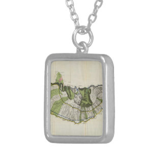 Vintage Map of Molokai Hawaii (1906) Silver Plated Necklace