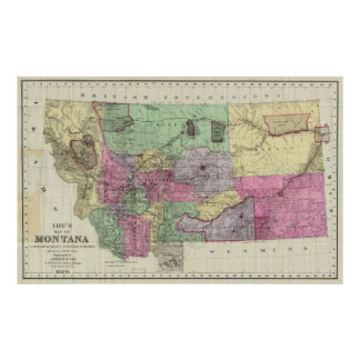 Vintage Map of Montana (1890) Poster