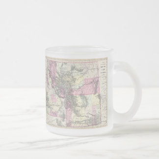 Vintage Map of Montana, Wyoming and Idaho (1884) Frosted Glass Mug