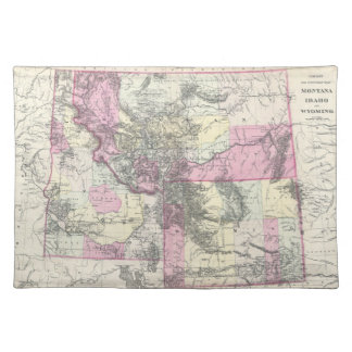 Vintage Map of Montana, Wyoming and Idaho (1884) Place Mats