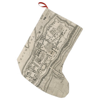 Vintage Map of Montreal (1758) Small Christmas Stocking