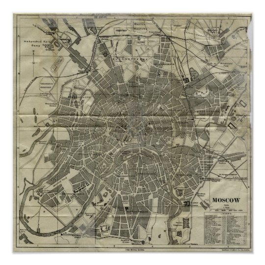 Vintage Map of Moscow (1893) Poster