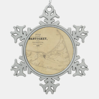 Vintage Map of Nantucket (1838) Pewter Snowflake Decoration
