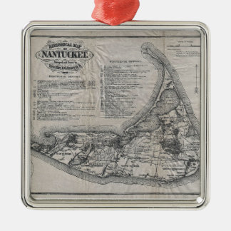 Vintage Map of Nantucket Silver-Colored Square Decoration