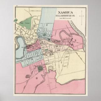 Vintage Map of Nashua NH (1877) Poster
