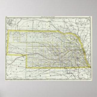 Vintage Map of Nebraska (1889) Poster