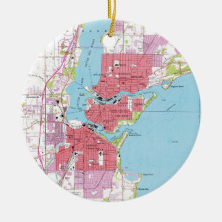 Vintage Map of Neenah Wisconsin (1955) Christmas Ornament