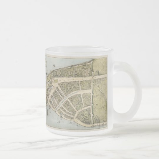 Vintage Map of New Amsterdam (1660) Frosted Glass