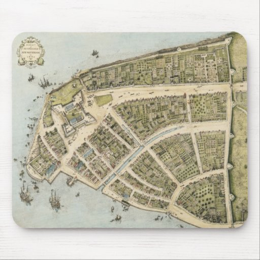 Vintage Map of New Amsterdam (1660) Mouse Pads