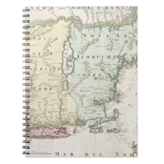 Vintage Map of New England (1716) Notebook