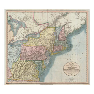 Vintage Map of New England (1821) Poster
