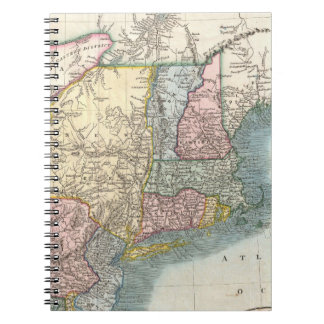 Vintage Map of New England (1821) Spiral Notebooks