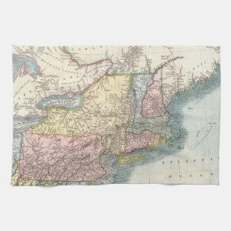 Vintage Map of New England (1821) Tea Towel