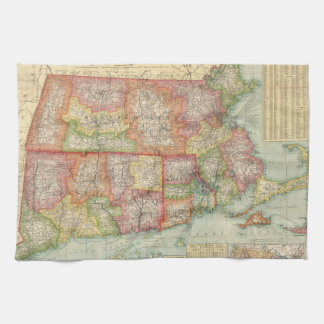 Vintage Map of New England States (1900) Tea Towel