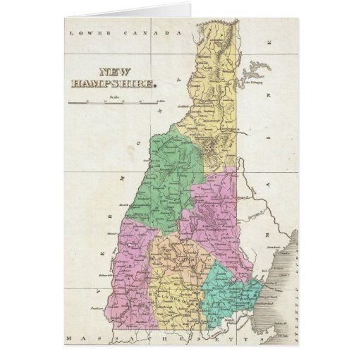 Vintage Map of New Hampshire (1827) Card