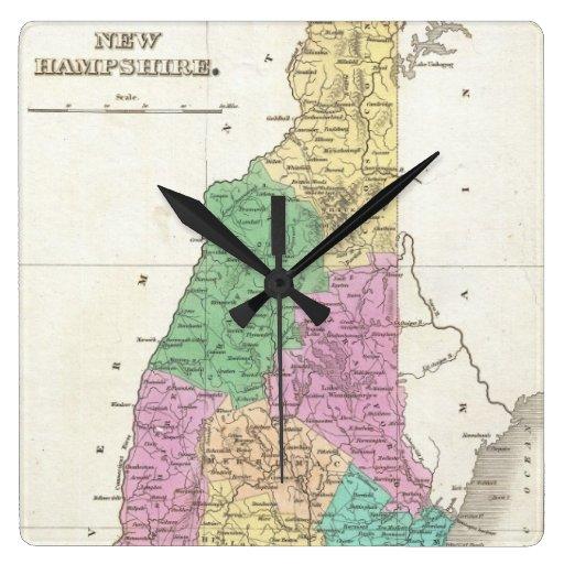 Vintage Map of New Hampshire (1827) Wallclock