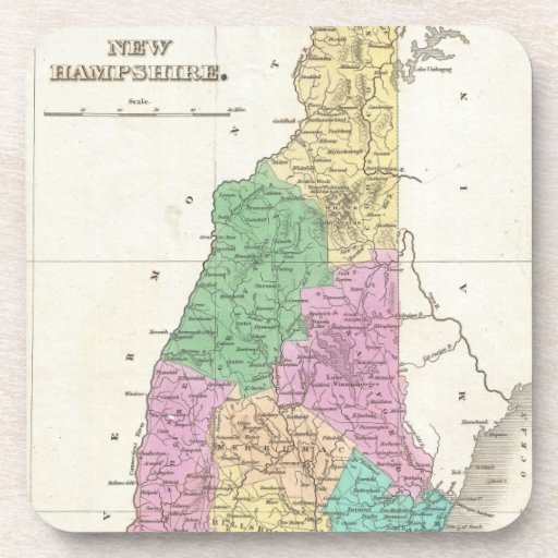 Vintage Map of New Hampshire (1827) Coasters