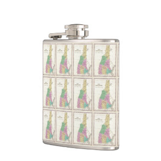 Vintage Map of New Hampshire (1827) Hip Flasks