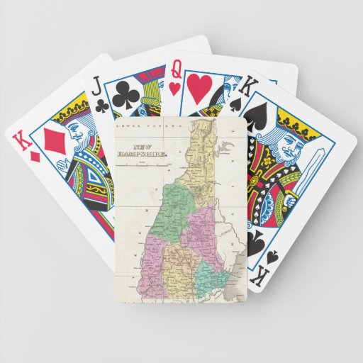Vintage Map of New Hampshire (1827) Bicycle Poker Cards