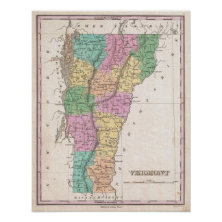 Vintage Map of New Hampshire 1827 Poster