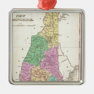 Vintage Map of New Hampshire (1827) Silver-Colored Square Decoration