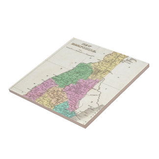 Vintage Map of New Hampshire (1827) Small Square Tile