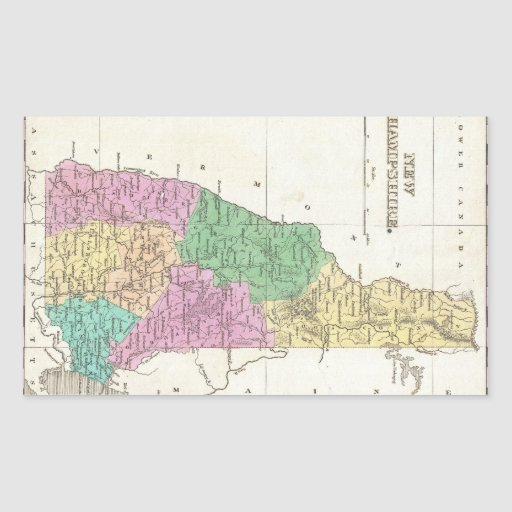Vintage Map of New Hampshire (1827) Rectangle Stickers