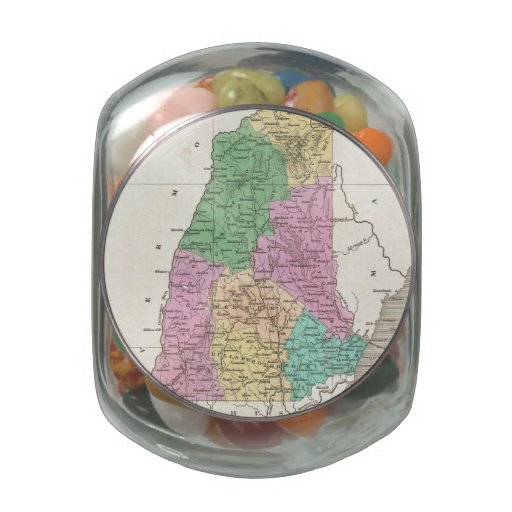 Vintage Map of New Hampshire (1827) Glass Jar