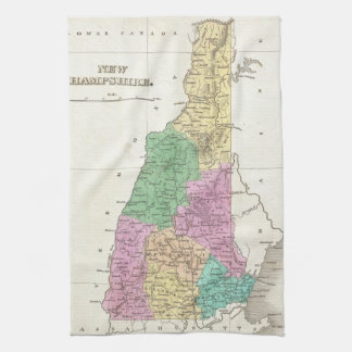 Vintage Map of New Hampshire 1827 Hand Towels