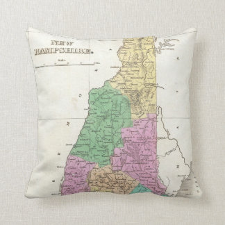 Vintage Map of New Hampshire (1827) Throw Cushions