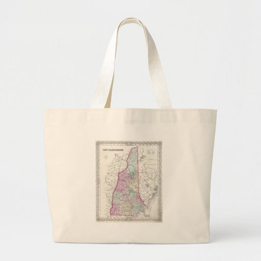 Vintage Map of New Hampshire (1855) Canvas Bags