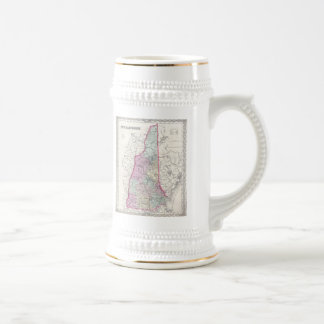 Vintage Map of New Hampshire (1855) Beer Steins