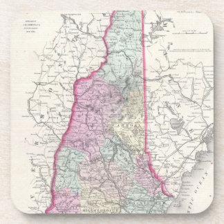 Vintage Map of New Hampshire 1855 Beverage Coaster