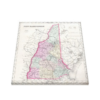 Vintage Map of New Hampshire (1855) Canvas Prints