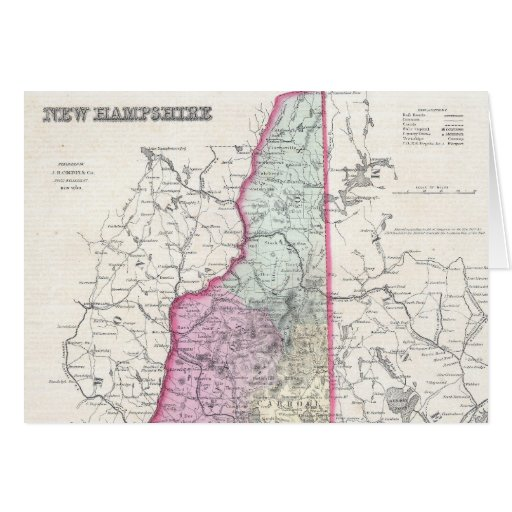Vintage Map of New Hampshire (1855) Card