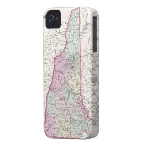 Vintage Map of New Hampshire (1855) iPhone 4 Case-Mate Cases