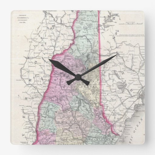 Vintage Map of New Hampshire (1855) Clock