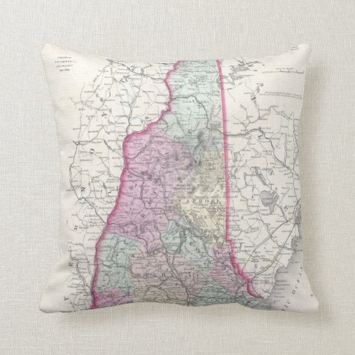 Vintage Map of New Hampshire (1855) Throw Pillows