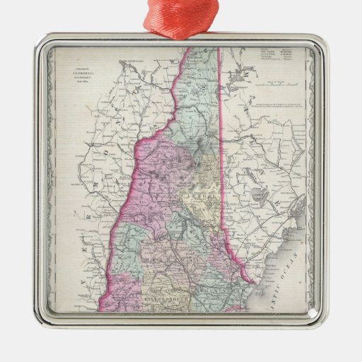 Vintage Map of New Hampshire (1855) Christmas Ornaments