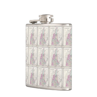 Vintage Map of New Hampshire (1855) Flasks